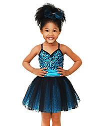 levne -Dětské taneční kostýmy Šaty Výkon Spandex Elastický Tyl Samet Elastický satén Flitry Flitry Bez rukávů Přírodní Šaty Doplňky do vlasů