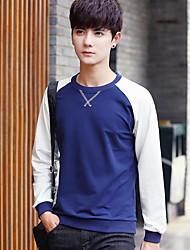 cheap -Men's Long Sleeve Sweatshirt - Color Block Round Neck