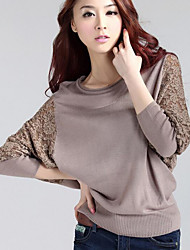 cheap -Women's Going out Batwing Sleeve Loose Blouse - Color Block Patchwork