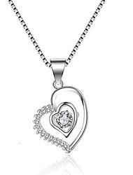 abordables -Mujer Forma de Círculo Corazón LOVE Forma Clásico Vintage Moda Collares con colgantes Zirconia Cúbica Zirconio Plata Collares con