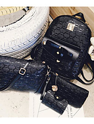 baratos -Mulheres Bolsas PU Conjuntos de saco Conjunto de bolsa de 4 pcs Ziper Branco / Preto