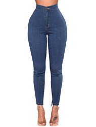 baratos -Mulheres Cintura Alta Jeans Calças - Sólido