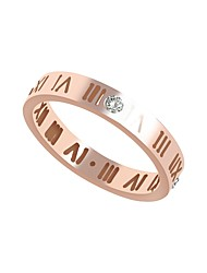cheap -Women's Cubic Zirconia Stainless Steel / Zircon Band Ring / With Gift Box - Metallic / Casual / Fashion Rose Gold Ring For Daily
