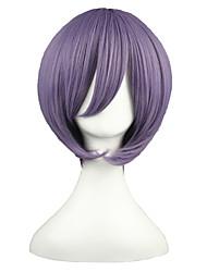 Недорогие -Парики из искусственных волос Естественные прямые Стрижка боб Искусственные волосы Фиолетовый Парик Жен. Короткие Парики для косплей Без