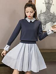 economico -Felpa Gonna Completi abbigliamento Da donna Per uscire Semplice Inverno Autunno,Monocolore Piazza Cotone Maniche lunghe