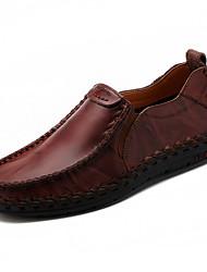 baratos -Homens sapatos Pele Couro Primavera Outono Conforto Mocassins e Slip-Ons para Casual Preto Marron Vinho