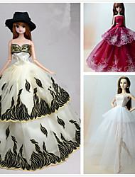 tanie Ubranka dla lalek Barbie-Księżniczka Sukienki Dla Lalka Barbie Poliester Ubierać Dla Dziewczyny Lalka Zabawka