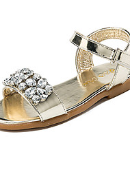 cheap -Girls' Shoes PU Spring Novelty Comfort Sandals Crystal Magic Tape for Wedding Party & Evening Gold Silver