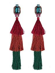 baratos -Mulheres Zircônia Cubica Franjas / Longas Brincos Compridos - Cristal Borla, Étnico Vermelho / Verde / Azul Para Diário