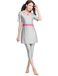 cheap -Women's Color Block Vintage Cute Strap Tankini Swimwear,Nylon Spandex Fuchsia Gray Black