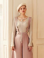 Недорогие -Жен. Винтаж Пуловер - Однотонный V-образный вырез