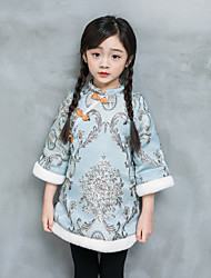 cheap -Girl's Daily Going out Embroidery Jacquard Patterned Dress,Polyester Winter Fall 3/4 Length Sleeves Vintage Boho Chinoiserie Light Blue