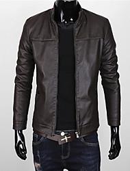 Недорогие -Муж. На каждый день Осень Обычная Куртка Воротник-стойка, Простой Однотонный Искусственная кожа