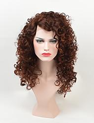 abordables -Pelucas sintéticas Rizado Kinky Curly Peluca afroamericana Marrón Mujer Sin Tapa Peluca de carnaval Peluca de celebridades Peluca de