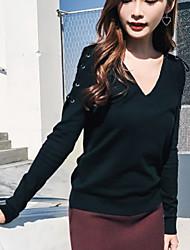 economico -Standard Pullover Da donna-Per uscire Moda città Tinta unita A V Manica lunga Cashmere Inverno Autunno Opaco strenchy