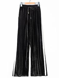 baratos -Mulheres Esporte & lazer Cintura Média Micro-Elástica Perna larga Calças, Poliéster/Algodão Elastano Primavera/Outono Sólido