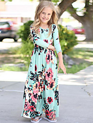 cheap -Girl's Daily Holiday Solid Floral Dress,Cotton Spring Fall Half Sleeves Cute Casual Boho Light Blue Navy Blue Blushing Pink Black