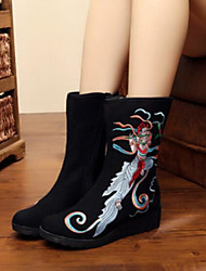 preiswerte -Damen Schuhe Stoff Herbst Winter Komfort Stiefel Flacher Absatz Geschlossene Spitze Runde Zehe Mittelhohe Stiefel für Draussen Schwarz Rot