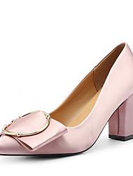 baratos -Mulheres Sapatos Couro Ecológico Outono Conforto Saltos Salto Baixo Preto / Vermelho / Rosa claro / Festas & Noite / Festas & Noite