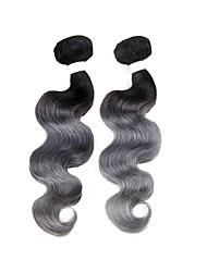 baratos -2 Peças Preto/Cinza Onda de Corpo Cabelo Brasileiro Tramas de cabelo humano Extensões de cabelo 0.2kg