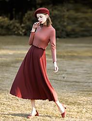 levne -Dámské Swing Šaty - Barevné bloky Vysoký pas