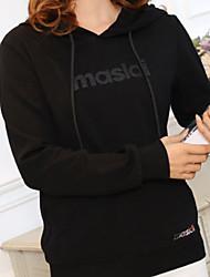 女性用 日常 パーカー ソリッド レタード フード付き マイクロエラスティック コットン 長袖 春