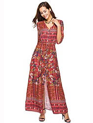 cheap -Women's Beach Boho Cotton Loose / Swing Dress - Floral Split High Waist Maxi V Neck