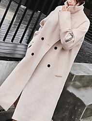 Недорогие -Жен. Пальто V-образный вырез Однотонный, Хлопок Крупногабаритные / Зима