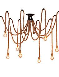 cheap -10-Head Vintage Industrial Hemp Rope Chandelier Living Room Restaurant Bars Pendant Lights Clothing Store Light