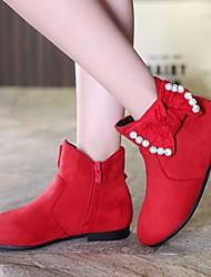 baratos -Para Meninas Sapatos Micofibra Sintética PU Inverno Conforto / Botas da Moda Botas para Preto / Vermelho / Botas Curtas / Ankle