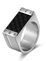 Недорогие -Муж. Жен. Классические кольца Классика Cool Шнур Нержавеющая сталь Геометрической формы Бижутерия Для вечеринок Новый год