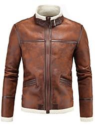 Недорогие -Для мужчин Повседневные Зима Кожаные куртки Воротник-стойка,На каждый день Однотонный Обычная Длинные рукава,Полиуретановая