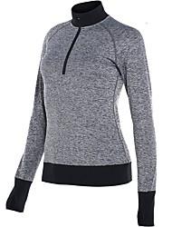 abordables -Femme Tee-shirt de Course Manches Longues Séchage rapide Tee-shirt pour Course / Running Coton Noir / Bleu de minuit / Gris L / XL / XXL