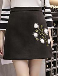 preiswerte -Damen Einfach Lässig/Alltäglich Mini Röcke A-Linie,Baumwolle Blumen Herbst