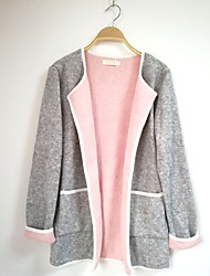 cheap -Women's Long Sleeves Cardigan - Color Block