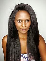 Недорогие -необработанные человеческие виргинские волосы бразильские волосы кружева парик yaki прямое glueless полное кружево с детским волосом африканский