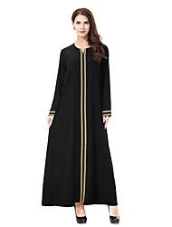 baratos -Mulheres Básico / Boho Solto / Reto Vestido Côr Sólida Longo