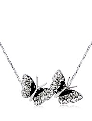 cheap -Women's Lovely Butterfly Crystal Silver Plated Pendant Necklace  -  Classic Black Necklace For Gift Daily