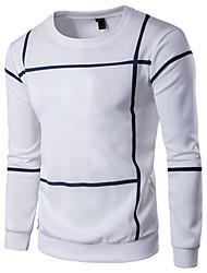 economico -T-shirt Per uomo Fine settimana Tinta unita A strisce Rotonda - Cotone