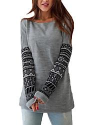 preiswerte -Damen Pullover Lässig/Alltäglich Einfach Druck Rundhalsausschnitt Dehnbar Baumwolle Langarm Herbst Winter