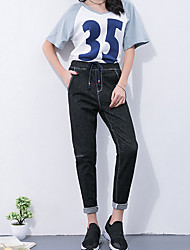 cheap -Women's Cotton Wide Leg Pants - Solid Colored High Rise
