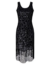 cheap -1920s The Great Gatsby Costume Women's Flapper Dress Black Golden Vintage Cosplay Polyethylene Short Sleeves Cap