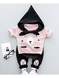 cheap -Baby Unisex Daily Print Color Block Clothing Set, Cotton Spring Fall Casual Long Sleeves Blue Black Blushing Pink Yellow