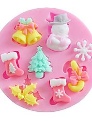 abordables -Molde para hornear forma de dibujos animados Pastel Galleta Tarta Silicona Alta calidad Manualidades Navidad
