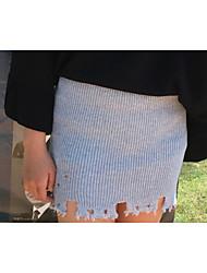 preiswerte -Damen Street Schick Lässig/Alltäglich Mini Röcke A-Linie,Baumwolle Solide Herbst