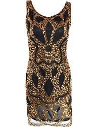 abordables -Gatsby Années 20 Costume Femme Robe à clapet Doré Vintage Cosplay Polyester Manches Courtes Mancheron