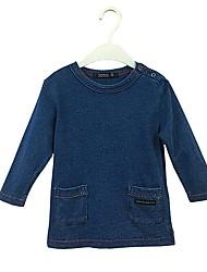 preiswerte -Baby Mädchen Einfach Solide Langarm Baumwolle Bluse