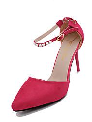 cheap -Shoes Cashmere Fall Comfort Heels Stiletto Heel Pointed Toe Rhinestone Fuchsia / Red / Blue / Dress