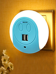 cheap -BRELONG® 1pc Wall Plug Nightlight Smart Sensor Dual USB US Phone Charger Bedside Light Control