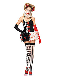abordables -Burlesques Payaso Disfrace de Cosplay Mujer Halloween Festival / Celebración Disfraces de Halloween Negro Ajedrez
